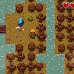 In una sezione del gioco colpendo le pietre blu si passa dal mondo degli adulti a quello dei bambini. Strano che non ci sia di mezzo un'ocarina.